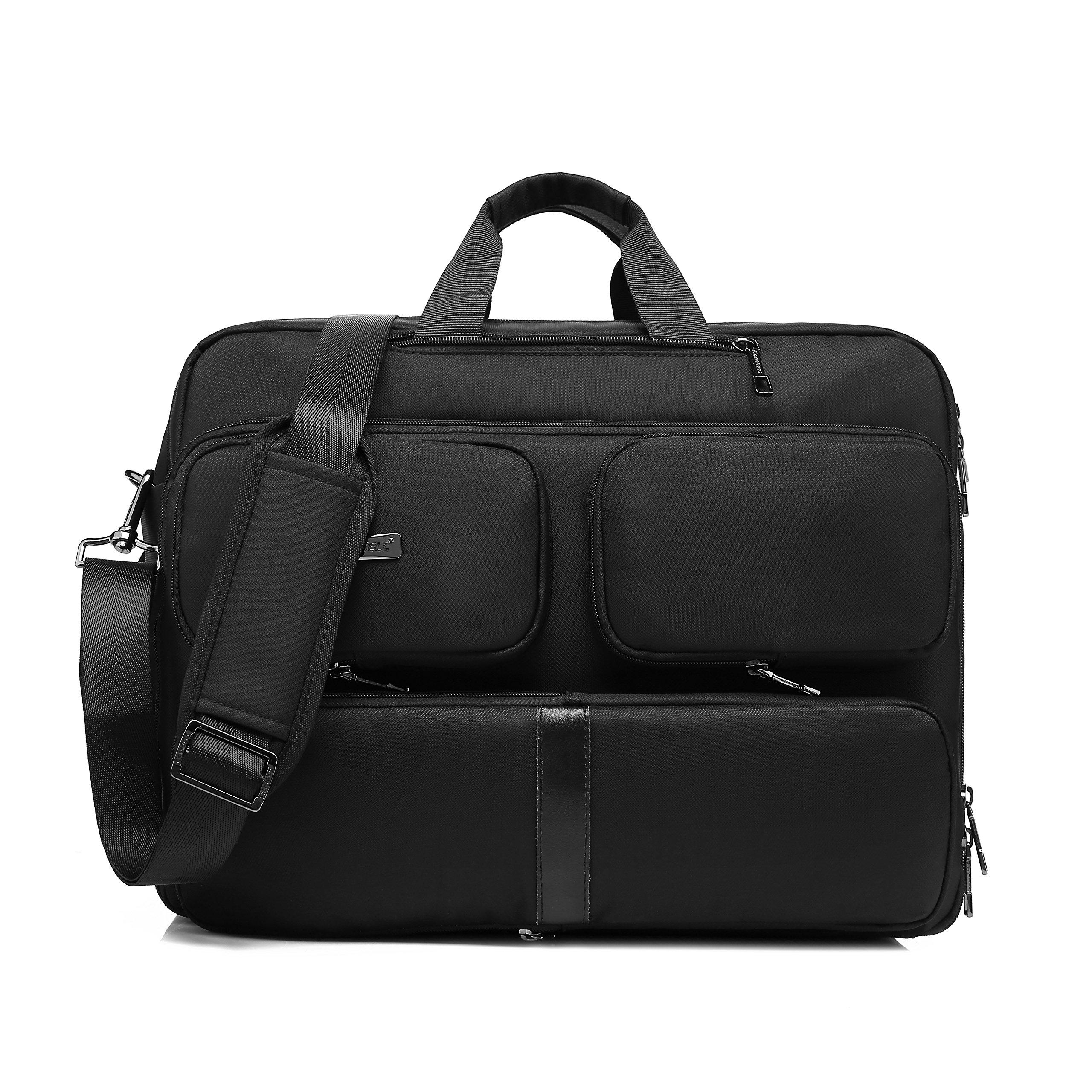 DTBG Laptop Bag Convertible Backpack Messenger Bag Nylon Shoulder Bag Men Women Business Briefcase Travel Rucksack with Side Handbag and Shoulder Strap Fits 17.3 Inches Laptop and Notebook (Black) by DTBG (Image #1)