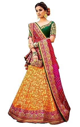 74ca964276e62b Image Unavailable. Image not available for. Colour: Yellow Multi Pure Silk  Lehenga Choli Dupatta L511