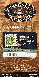 Baronet Coffee Single Fair Trade Organic Espresso ESE Pods, 54 Count
