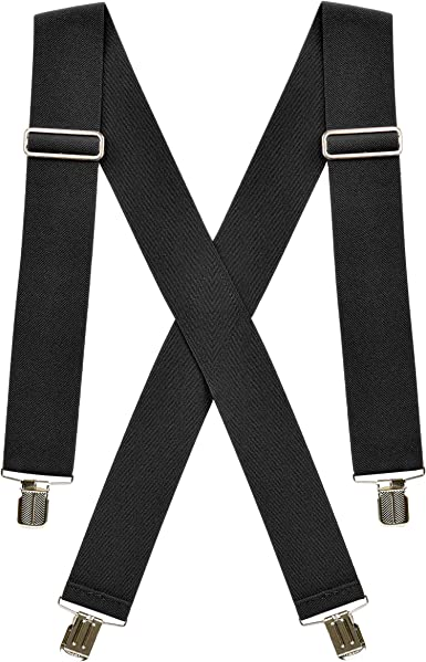 Rule Heavy Duty Mens Suspenders 2 Wide Adjustable and Elastic Braces X Shape with Very Strong Clips