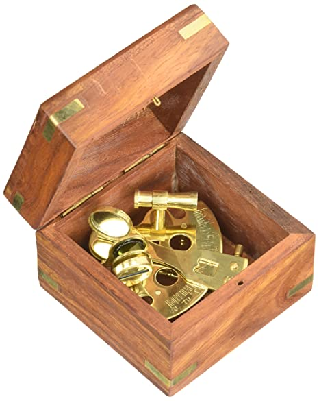 Latón astrolabio W/Caja de madera: náutico Sextent: Amazon.es: Hogar