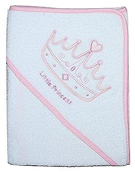Bebé niña con capucha toalla albornoz baño Wrap Blanco y Rosa Princesa corona: Amazon.es: Bebé