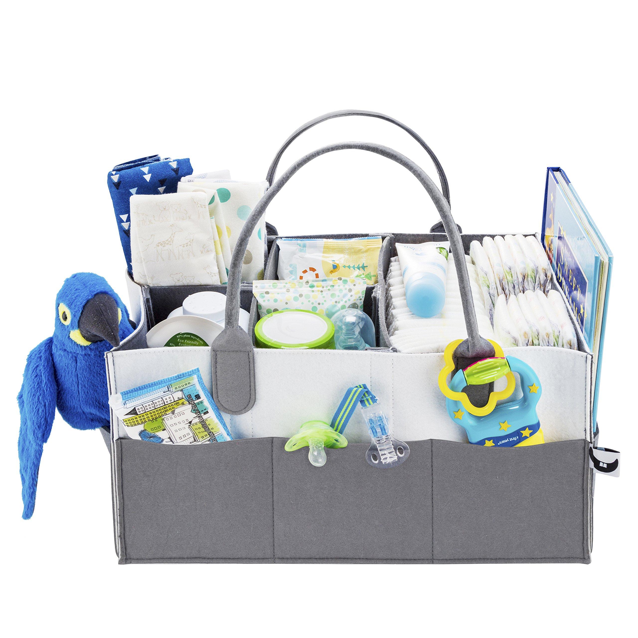 Nursery Diaper Caddy Organizer | Gift Registry for Baby Shower Must Haves | Large Baby Essentials Organizer | Cute Basket for Baby Gifts for Newborn Boys Girls Twins | Versatile Stylish Design 4 Moms