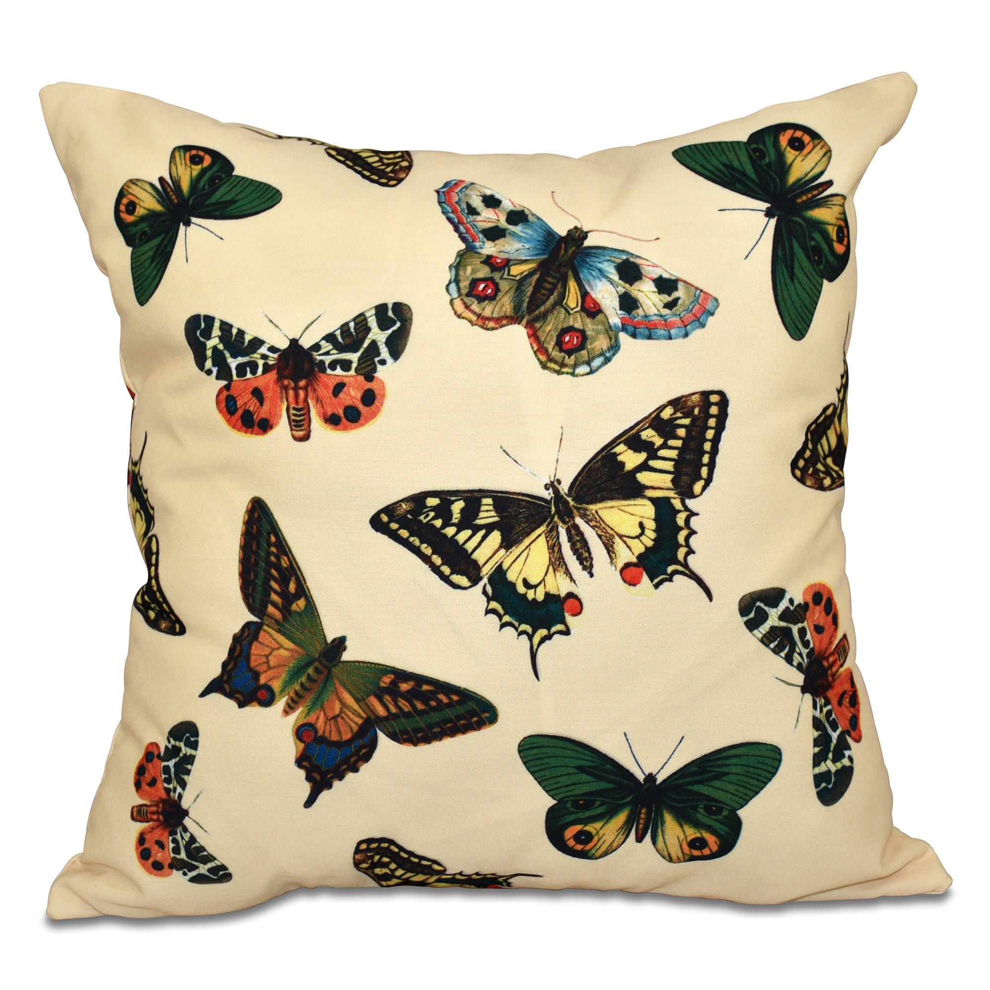 E by design O5PAN491YE2-20 20 x 20 Butterflies Animal Print Yellow Outdoor Pillow