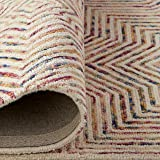 "Rivet Geometric Wool Runner Rug, 2' 6"" x 8', Ivory, Red, Purple"