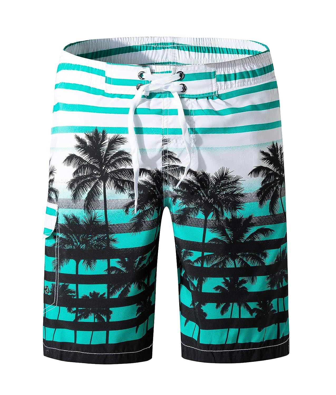 8092c47756 SHEKINI Men's Summer Beach Shorts Coconut Tree Print Swim Trunks Trousers  Short | Amazon.com