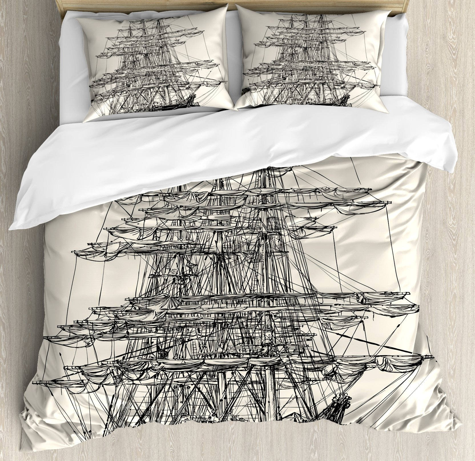 Pirate Ship Duvet Cover Set King Size by Ambesonne, Sailing Boat Detailed Illustration Nautical Maritime Theme Vintage Style Art, Decorative 3 Piece Bedding Set with 2 Pillow Shams, Cream Black