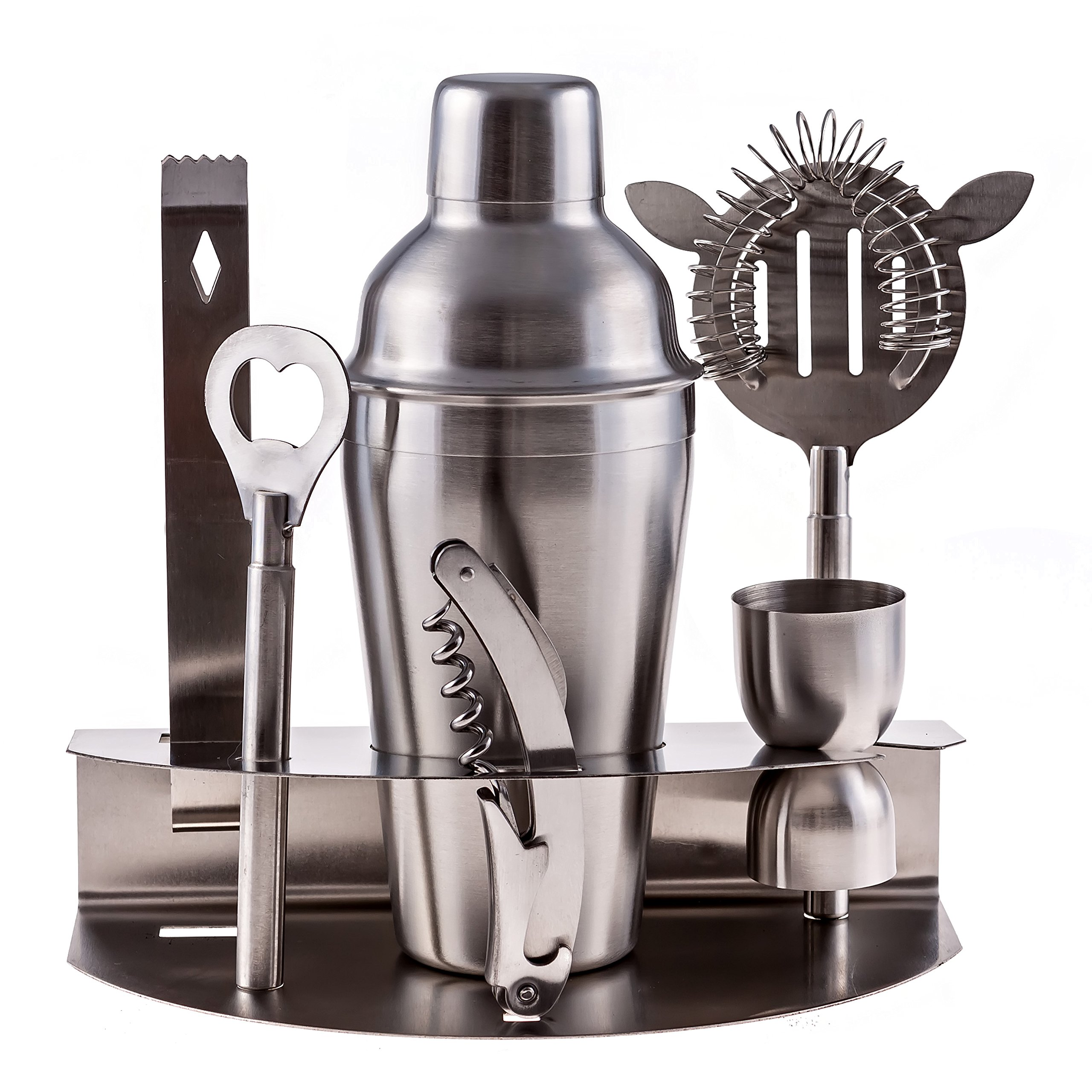 Bar Tool Set 100% Stainless Steel Bartender Martini Shaker Cocktail with Strainer Corkscrew Bottle Opener Jigger Ice Tongs and Storage Rack