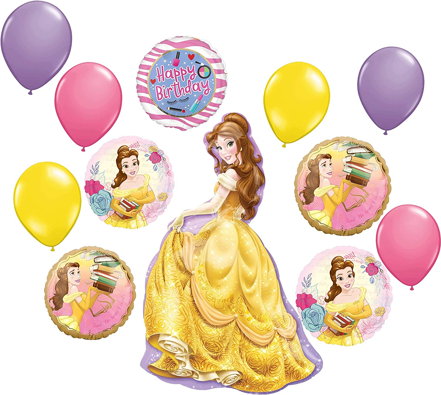 Beauty and the Beast Party Supplies Princess Belle Birthday Balloon Bouquet Decorations 12 piece kit