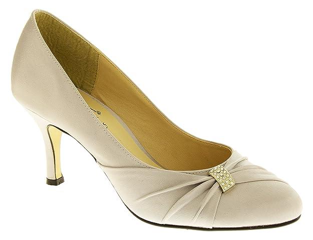 d585f8d11eb8d Sabatine Womens Satin Ladies Mid Heel Court Shoes