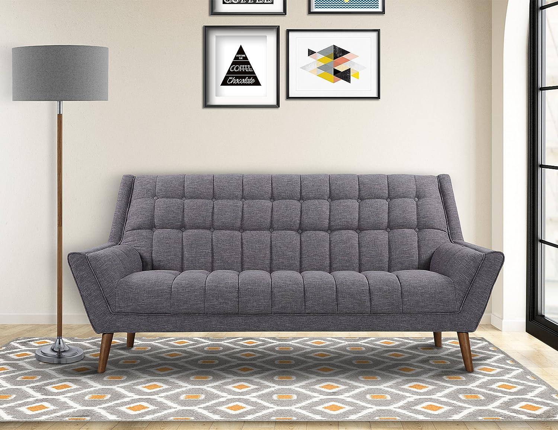 Amazon com armen living lcco3dg cobra sofa in dark grey linen and walnut wood finish kitchen dining