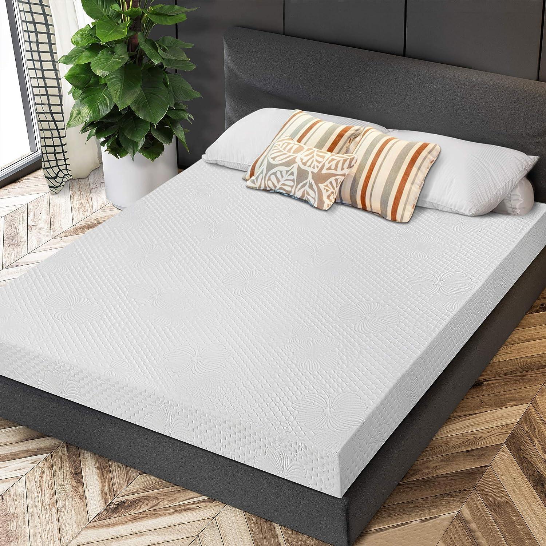 PrimaSleep 5 Inch Gel Memory Foam Mattress, Supportive Pressure Relief, White, Full