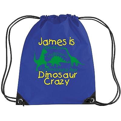 Edward Sinclair Royal Personalised Boy Dinosaur Crazy Bag With Name - Boy Gym/Pe/Drawsting Bag 12 Litres Royal Blue