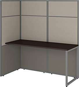Bush Business Furniture Easy Office Cubicle Desk Workstation with 66H Open Panels, 60Wx60H, Mocha Cherry