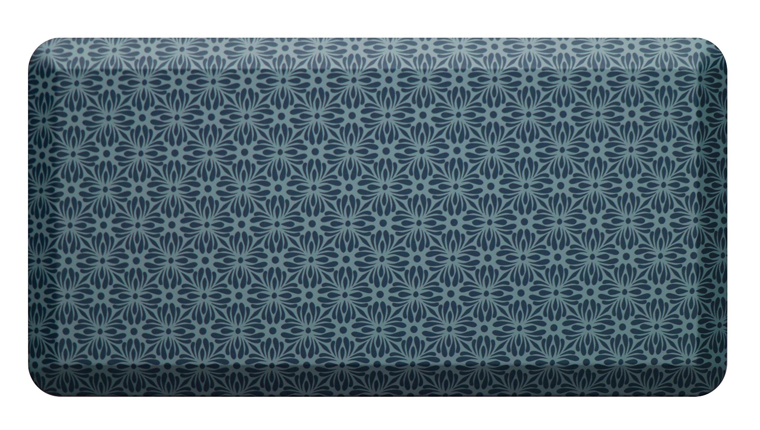 Licloud Anti-fatigue Mat Non-toxic Kitchen Mat Floor Mat Comfort Mat (20x39x3/4-Inch, Flower blue)