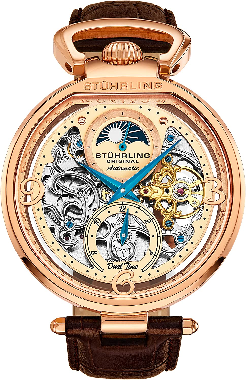 Amazon.com: Stührling Original Mens Skeleton Watch Dial Automatic Watch  with Calfskin Leather Band and - Dual Time, AM/PM Sun Moon: Watches