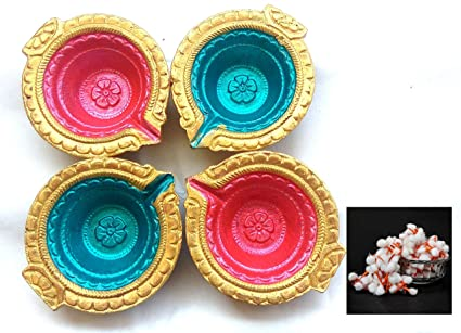 d75a9c890 Shree seller s Multicolor Diwali Diya Set of 4 for Diwali Diya Home  Decoration