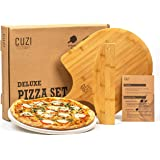 Cuzi Gourmet XL Pizza Stone Set, 3-Piece Pizza Grilling Set - Cordierite Pizza Stone, Bamboo Pizza Peel & Pizza Cutter - Larg