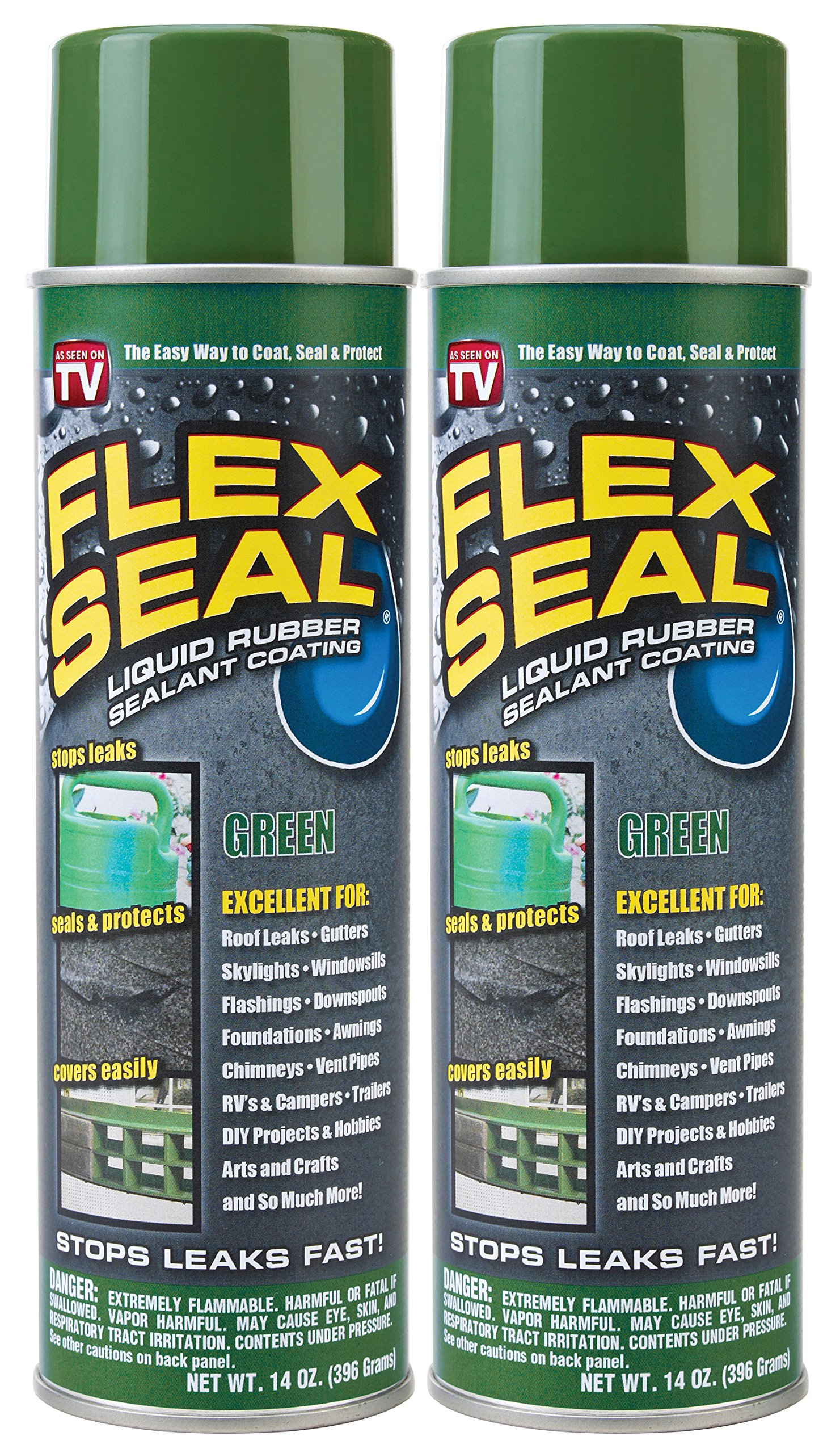 Flex Seal Spray Rubber Sealant Coating, 14-oz, Green (2 Pack)