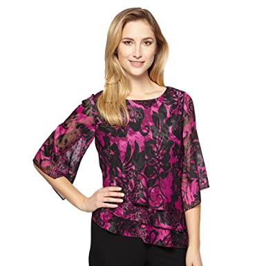 fafef4f7371270 Alex Evenings Women's Plus Size Burnout Chiffon Blouse and Asymmetric Tier  Hem Black/Magenta/
