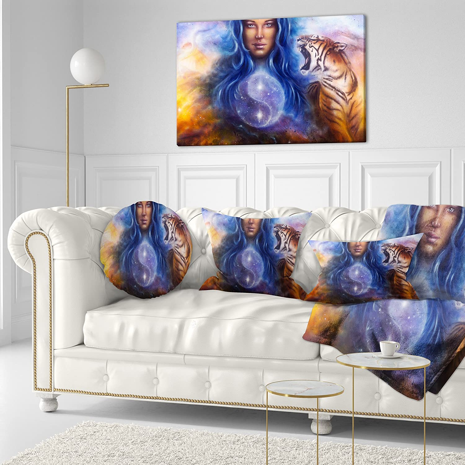 Sofa Throw Pillow 16 Designart CU6537-16-16-C Female Goddess Lada Portrait Round Cushion Cover for Living Room Insert Printed On Both Side