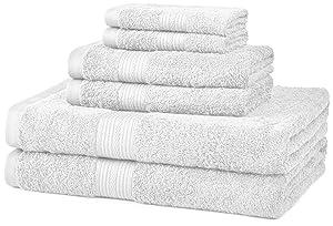 AmazonBasics Fade-Resistant Towel Set 6-Piece, White