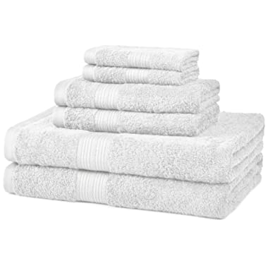 AmazonBasics 6-Piece Fade-Resistant Bath Towel Set - White