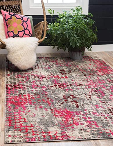 Unique Loom Chromatic Collection Modern Abstract Colorful Pink Area Rug 9' 0 x 12' 0