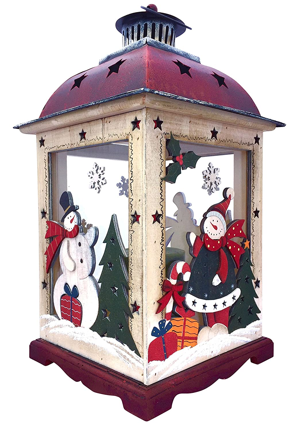 Hand Painted Whimsical Christmas Lantern Candle Holder | ChristmasTablescapeDecor.com