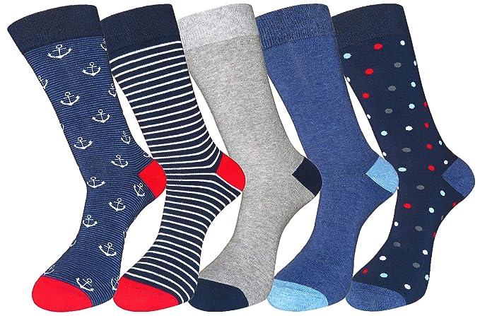 FULIER - Calcetines de algodón para hombre, 5 unidades, diseño elegante, coloridos, cómodos, talla 36-40 Color 11: Amazon.es: Ropa y accesorios