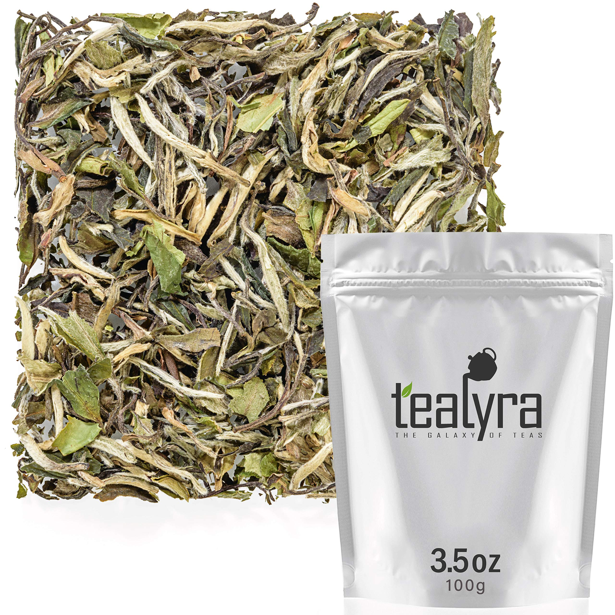 Tealyra - White Peony - Bai Mu Tan White Loose Leaf tea - Premium Chinese White Tea - Organically Grown - Caffeine Level Low - 100g (3.5-ounce) by Tealyra