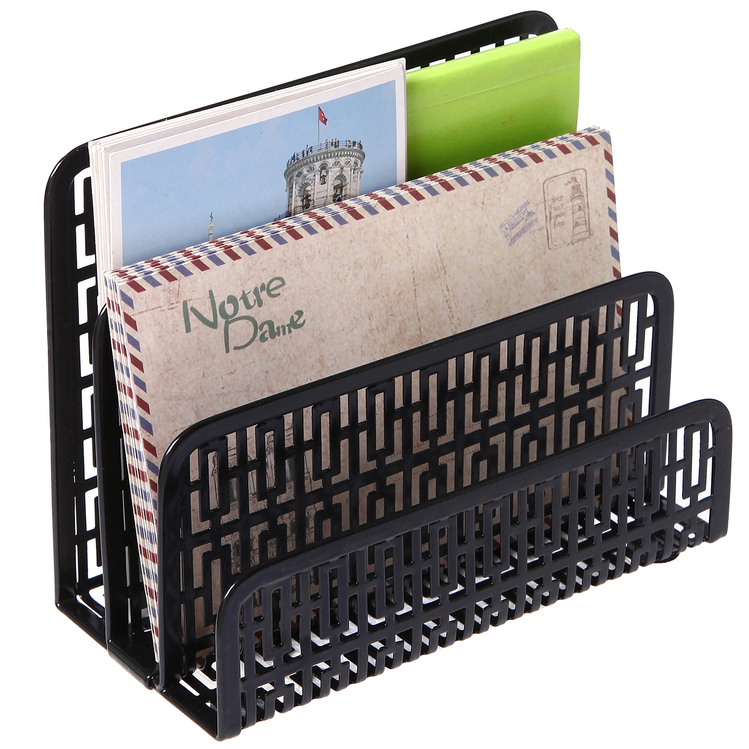 3 Slot Metal Geometric Cut-out Design Desk Letter Mail Sorter, Document Organizer, Black