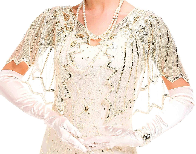 1920s Shawl Wraps Sequin Shawl Beaded Evening Cape Bridal Shawl Bolero Flapper Cover Up beige silver, one size