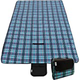 CampTeck Extra Large (200 x 150cm) Folding Picnic Blanket Fleece Water Resistant Backing Travel Picnic Rug for Outdoors, Beach, Camping with Handle - Blue Check