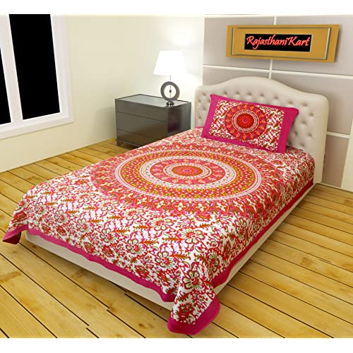 Perfect RajasthaniKart Classic 144 TC Cotton Single Bedsheet With Pillow Cover    Abstract, Pink
