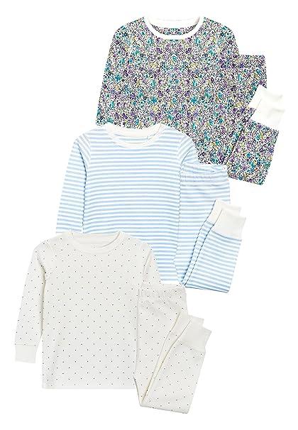 next Niñas Pack De Tres Pijamas Cómodos con Flores (9 Meses - 8 Años) Azul/Crudo 7-8 años: Amazon.es: Ropa y accesorios