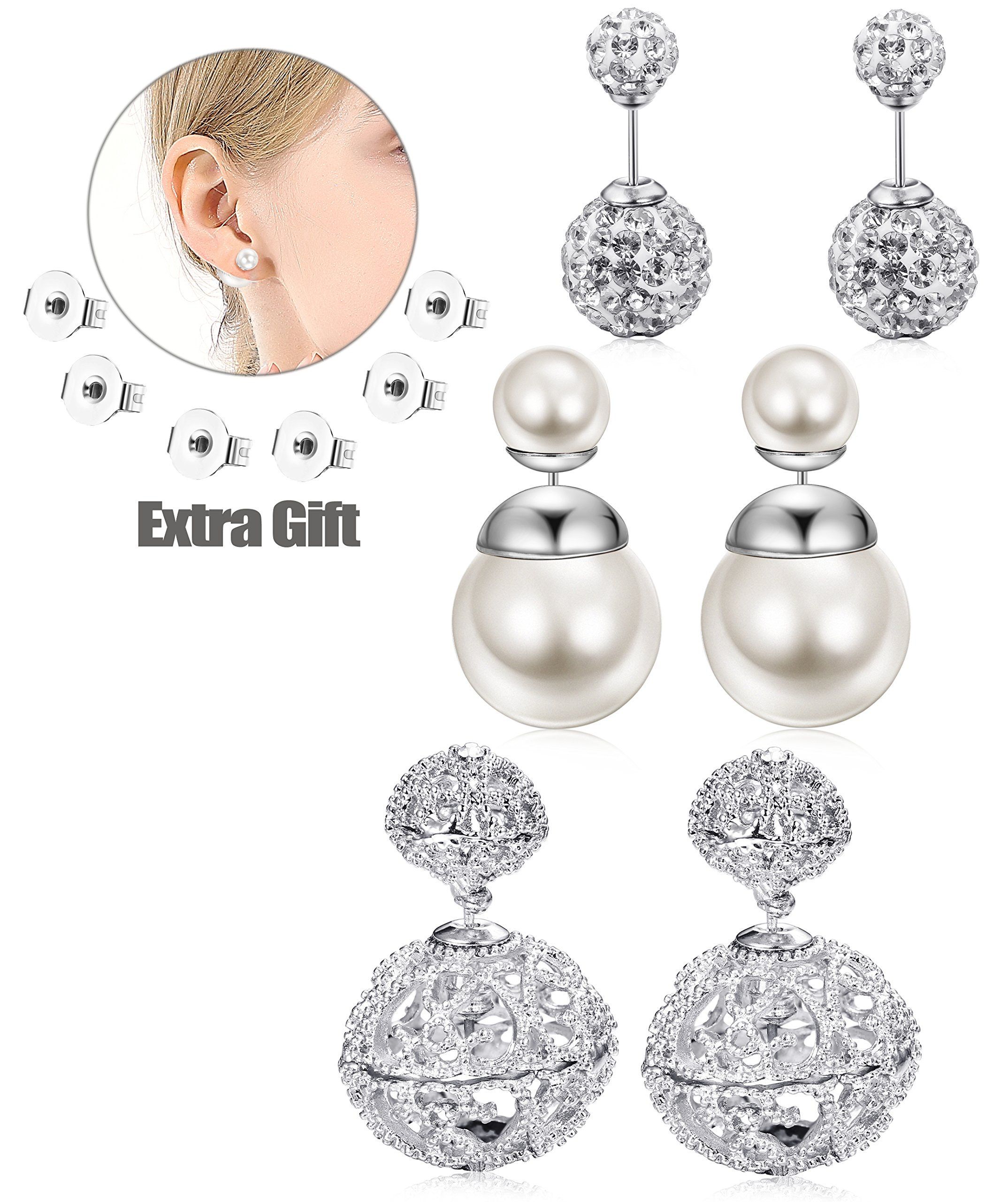 JOERICA 3 Pairs Vintage Hollow Out Womens Double Side Round Ball Stud Earrings Silver-tone