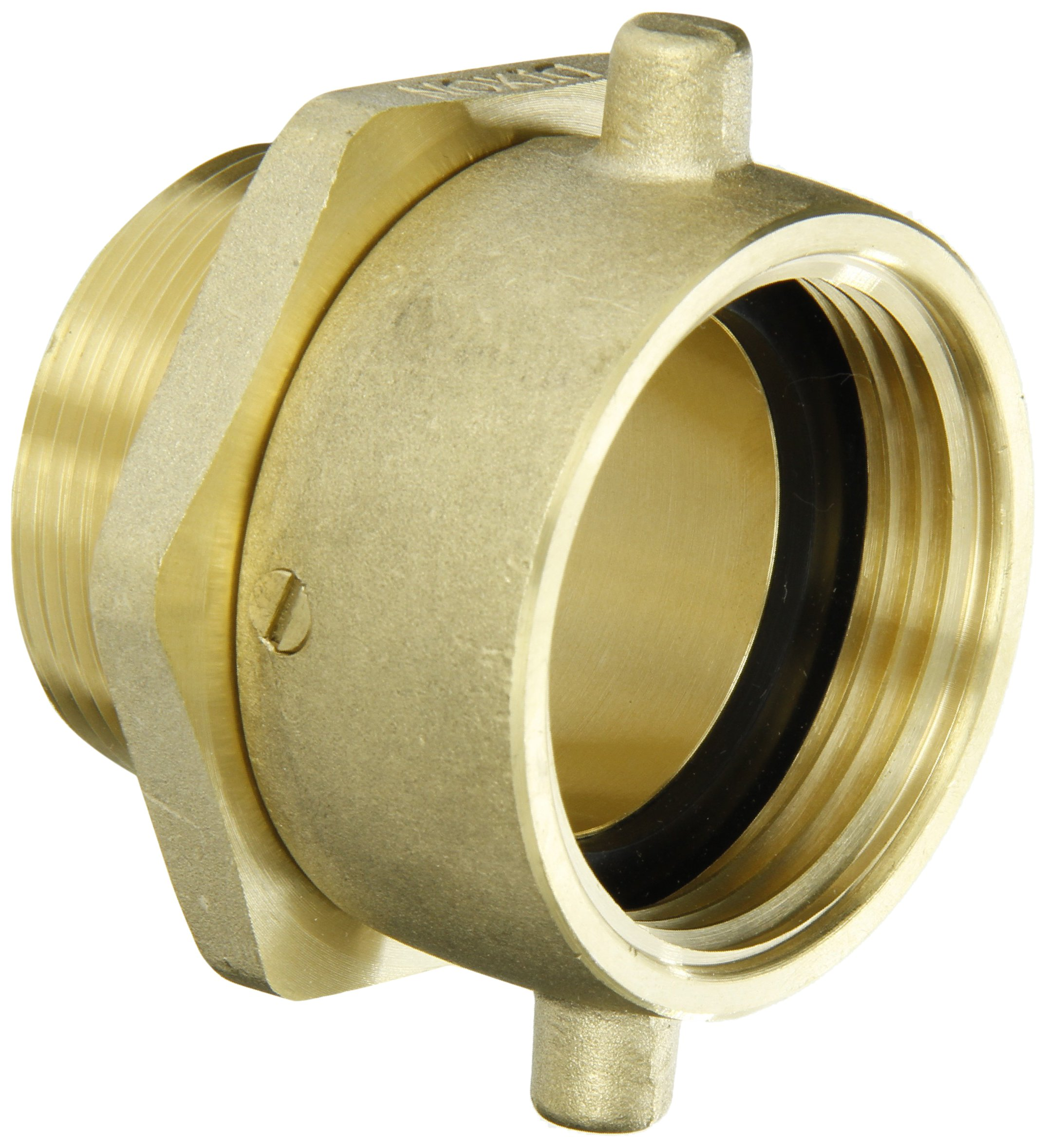 Dixon Valve & Coupling Valve SM150F Brass Fire Equipment, Swivel Adapter with Pin Lug, 1-1/2'' NST (NH) Female x 1-1/2'' NPT Male
