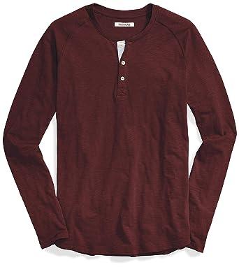 0f478af5 Goodthreads Men's Long-Sleeve Lightweight Slub Henley, Burgundy, X-Small