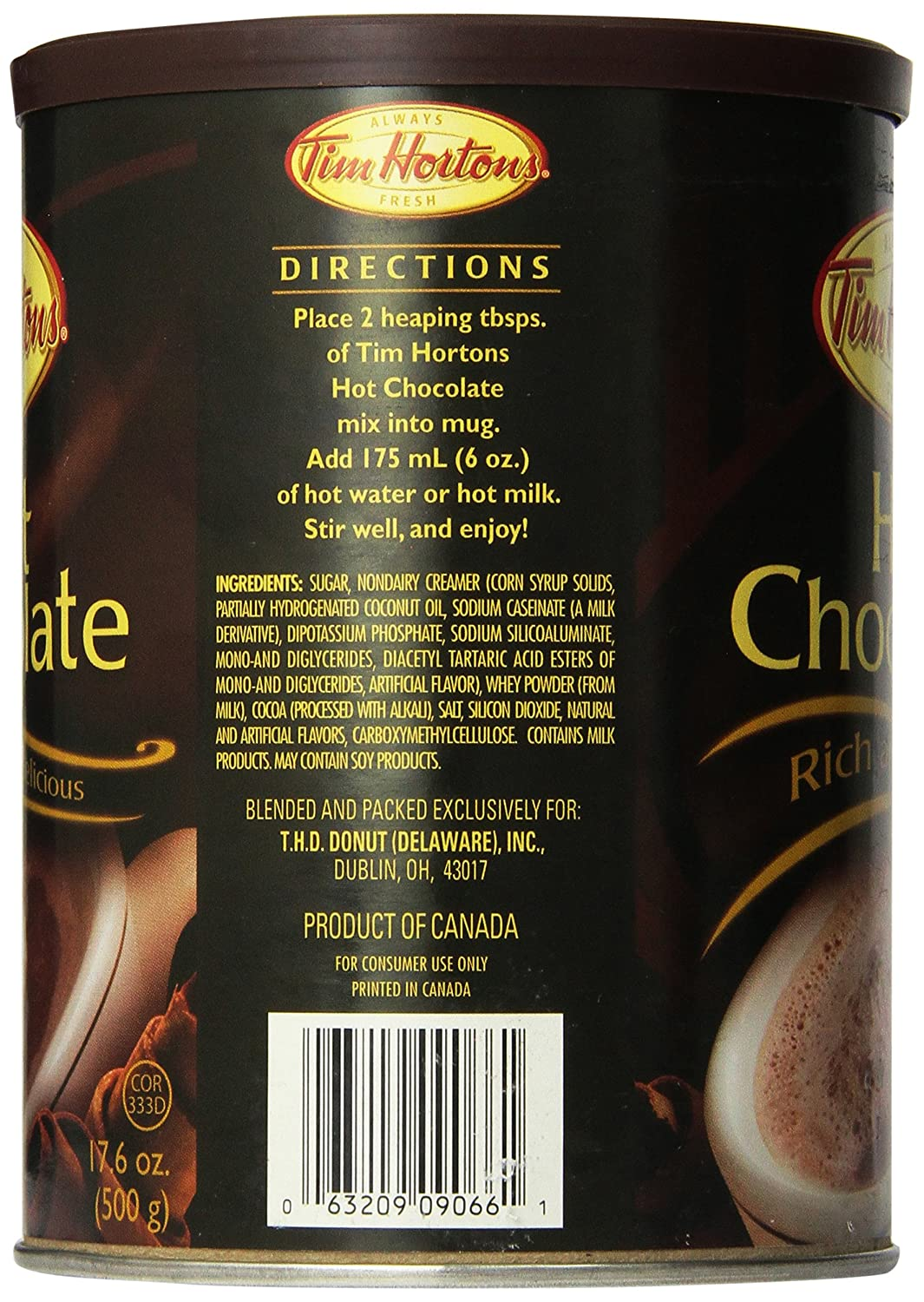 Amazon.com : Tim Hortons Can of Hot Chocolate 500g, 17.6oz : Hot ...