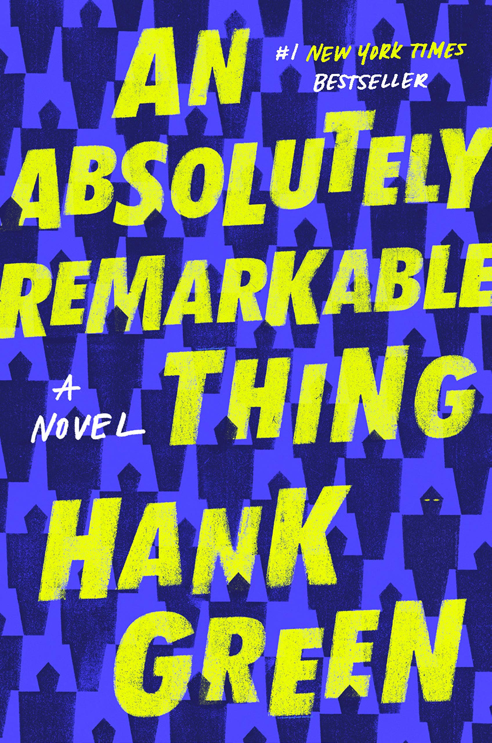 "Yellow text, ""An Absolutely Remarkable Thing"", over a tessellation of blue robots."