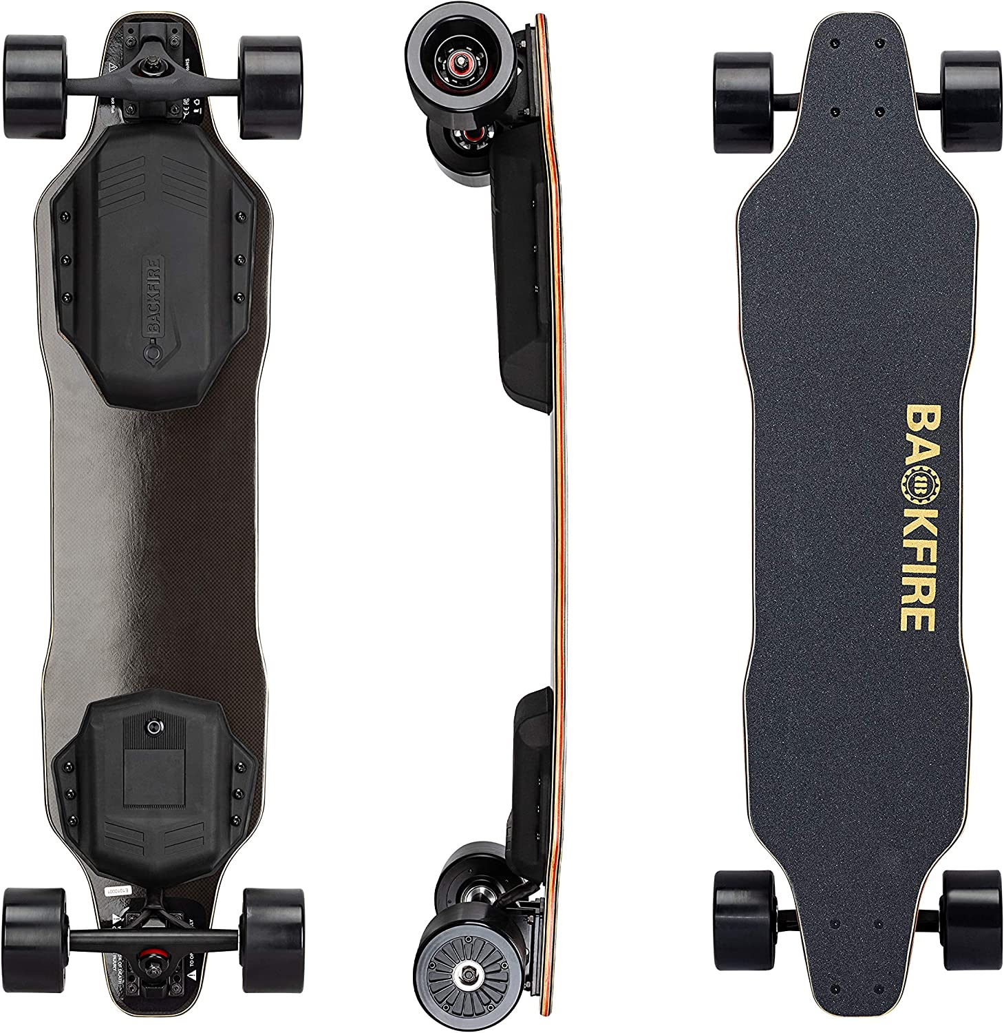 BACKFIRE G2 Black Electric Longboard with Remote Control, Hobbywing Motors and 96mm Wheels