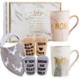 New Parents Pregnancy Gift Ideas Includes Premium Gift Basket for Mom and Dad Mugs 14 oz - Expecting Mother to be - Baby…