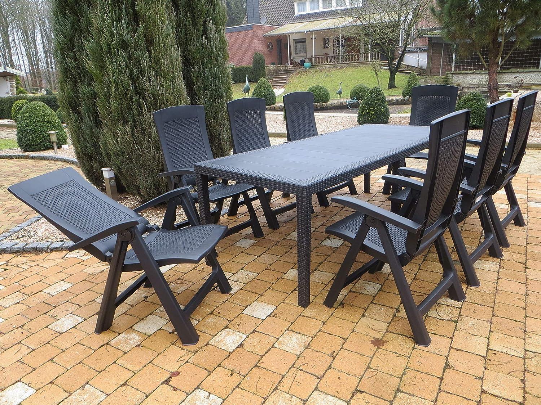 XXL Kunststoff Gartenmöbelgruppe Big in Rattan Optik, 8 Klappsessel und EIN Auszieh-Tisch, von IPAE Progarden, Made IN Europe
