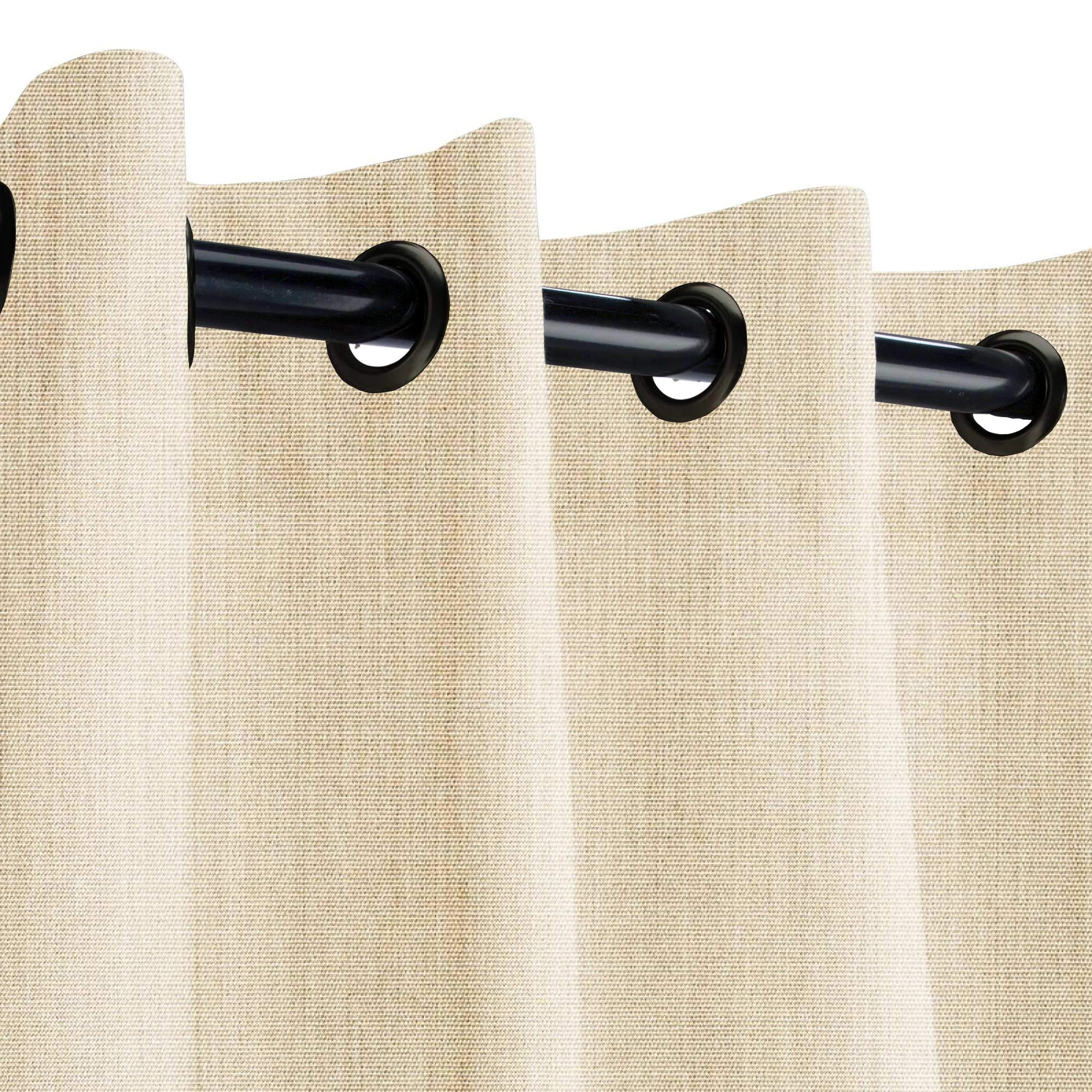 Sunbrella Canvas Flax Outdoor Curtain with Dark Gunmetal Grommets 50 in. Wide x 120 in. Long