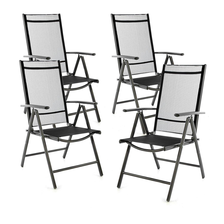 SONLEX 4er Set Set Set Klappstuhl Klappsessel Gartenstuhl Campingstuhl Liegestuhl – Sitzmöbel – klappbarer Stuhl aus Aluminium & Kunststoff - schwarz (Textilene)   anthrazit (Rahmen) 566608