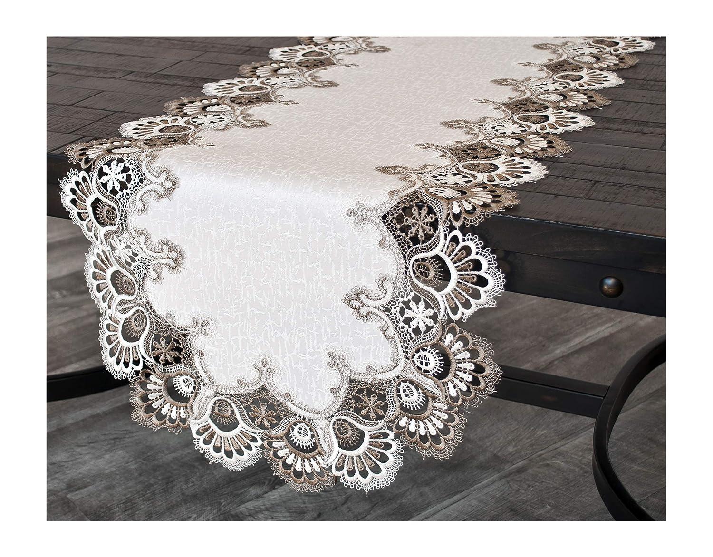 Linens Art and Things ホワイトココアアーストーン ジャカードピーコックテール レースドレッサー スカーフ テーブルランナー コーヒーテーブルランナー 約16インチ x 44インチ   B07MTVY2CL