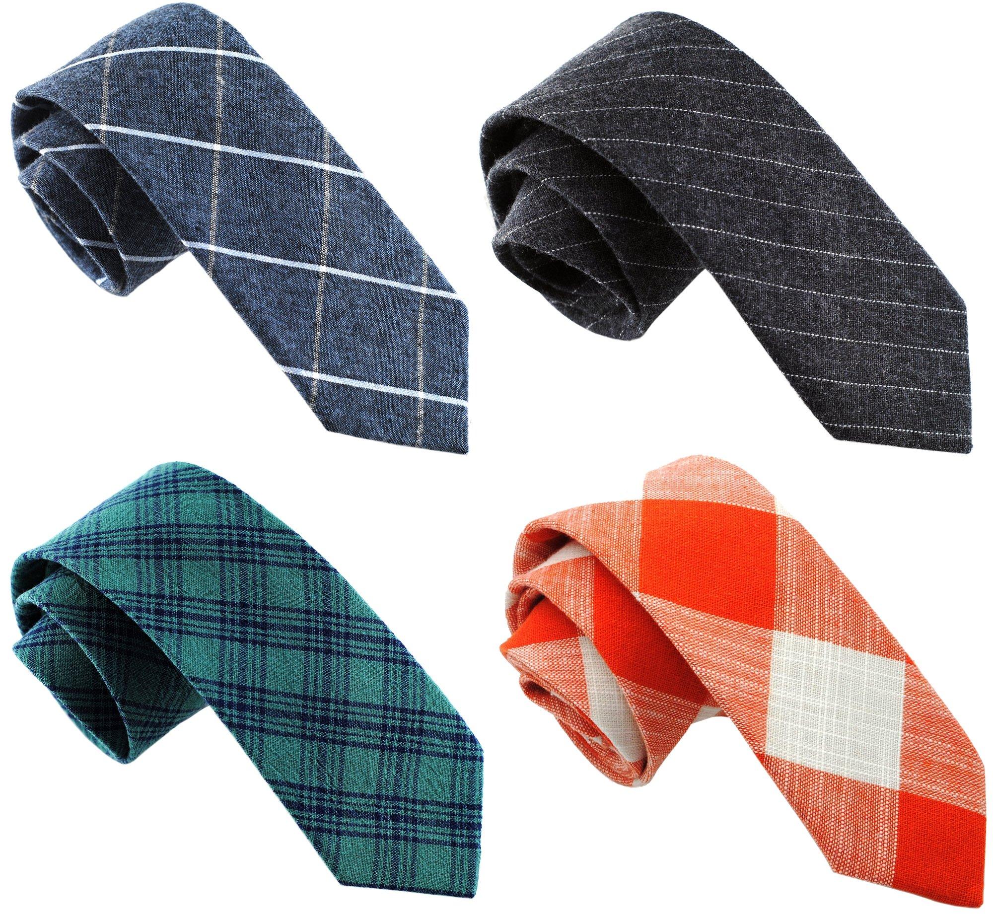 Zenxus Casual Skinny Necktie Slim Cotton Ties 4-pack TG-001