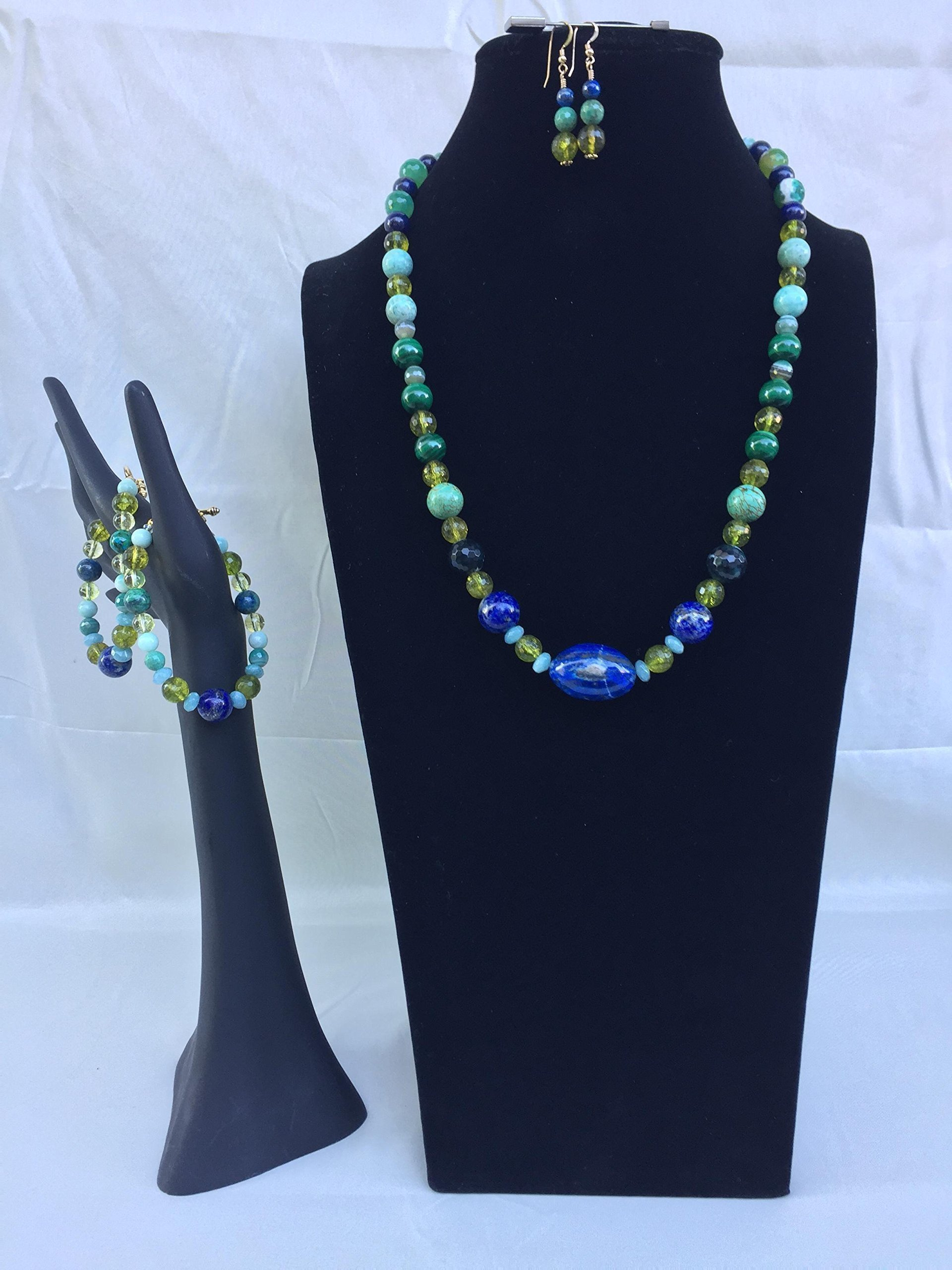 Unique and artsy handmade gemstone jewelry set with a necklace, two bracelets and matching dangle earrings. Lapis, Peridot and mixed gemstones. One of a kind