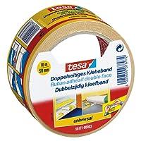 tesa Doppelseitiges Klebeband für Teppich Verlegung sowie Bastel- und Dekorationsarbeiten, 10 m x 50 mm